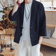 Fashion Casual Loose Plain Long Sleeve Ox Horn Buckle Cardigan Outerwear
