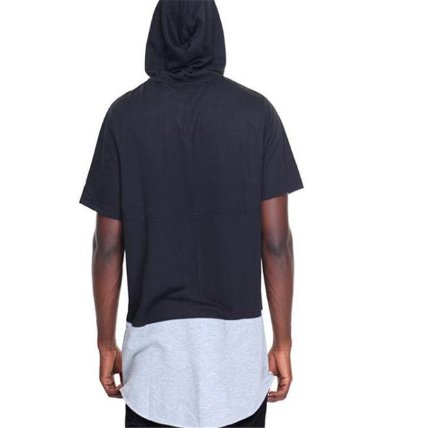 Fashion Casual Sport Loose Color Block Short Sleeve Hoodie  Short T-shirts