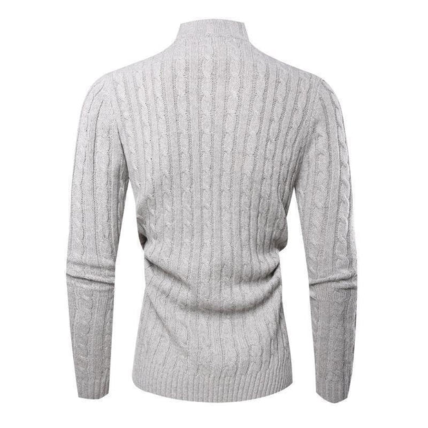 Fashion High Collar Plain Button Sweater