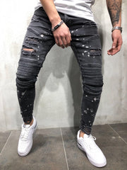 Fashion Hole Plain Slim Fit Jeans Pants