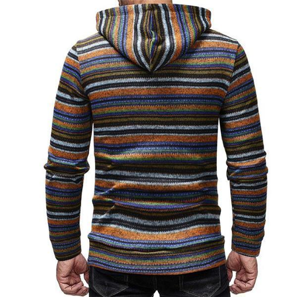 Fashion Casual Loose Strip Men Sport Hoodie