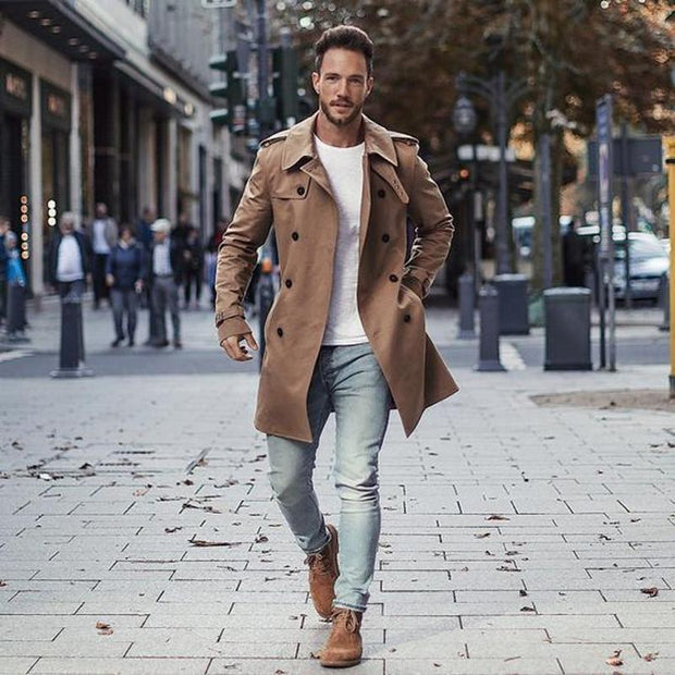Casual Lapel Plain Loose Button Khaki Long Winfbreaker Coat