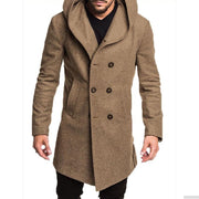 Casual Plain Thicken Warm Hooded Long Sleevs Long Woolen Coat