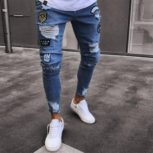 Fashion Embroidered Badge Elastic Shredded Young Slim Jeans