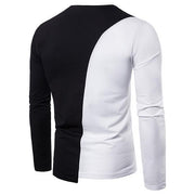 Fashion Contrast Round Neck Long Sleeve T-Shirt