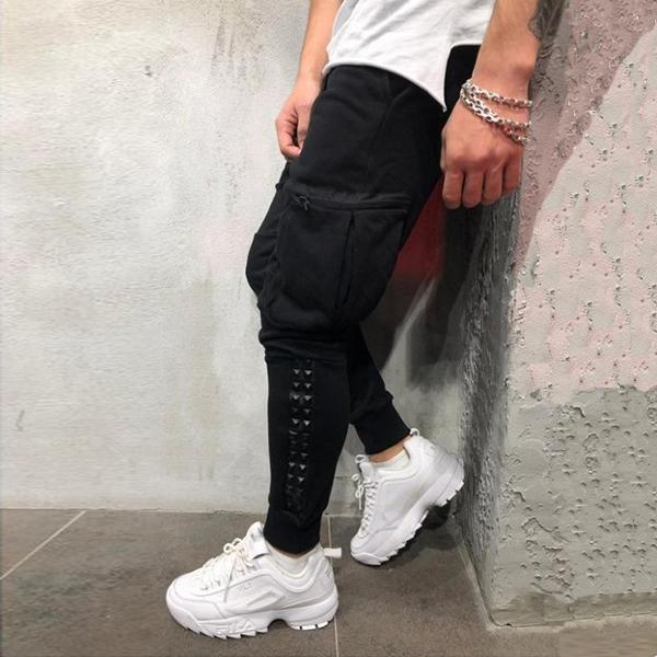 Fashion Casual Slim Side Pocket Stud Pants