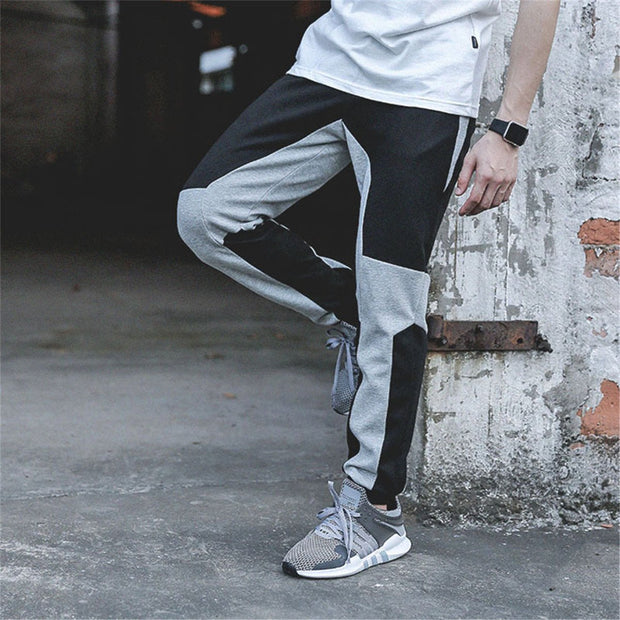 Fashion Irregularity Blue Patchwork Sports Pants