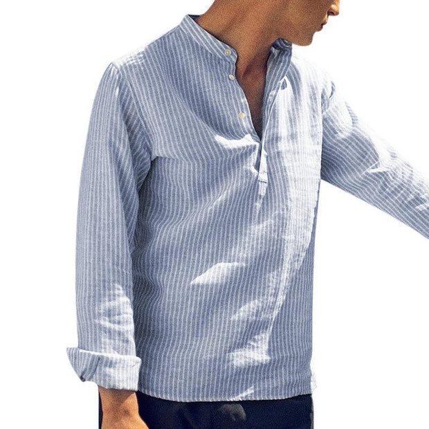 Casual Striped Stand Collar Men's Long Sleeve Shirt