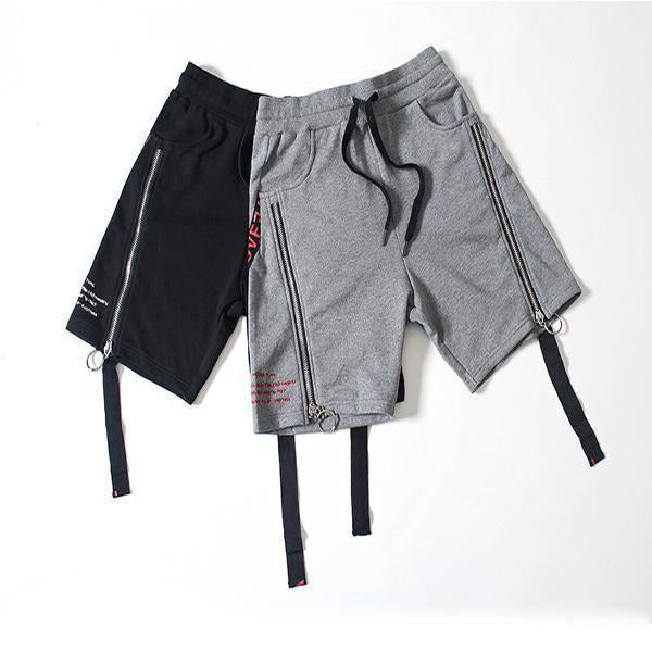 Cotton Hip Hop Webbing Zipper Casual Shorts
