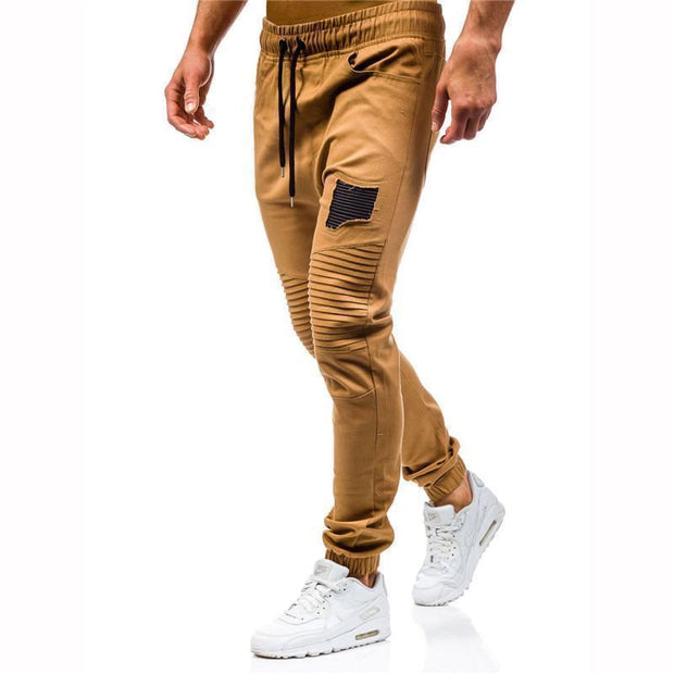 Daily Solid Color Wrinkle Patch Work Tether Trousers