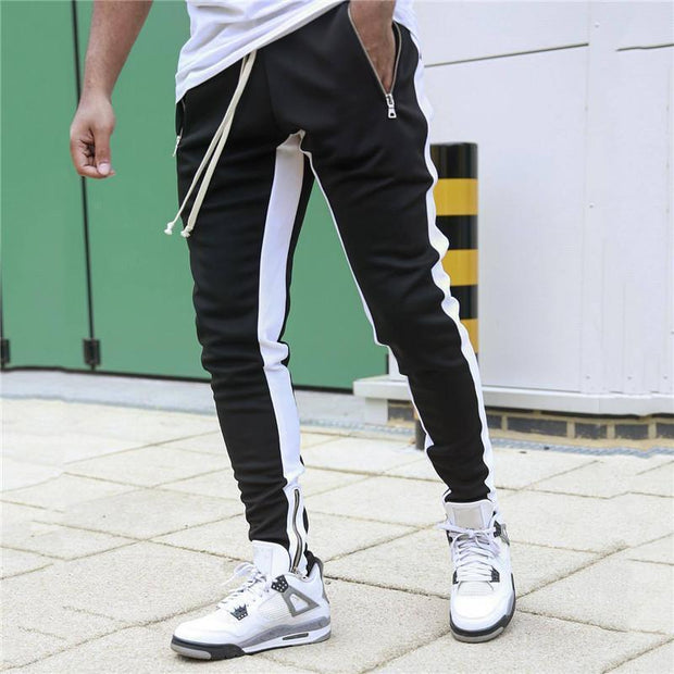 Fashion Color Block Drawstring Trousers