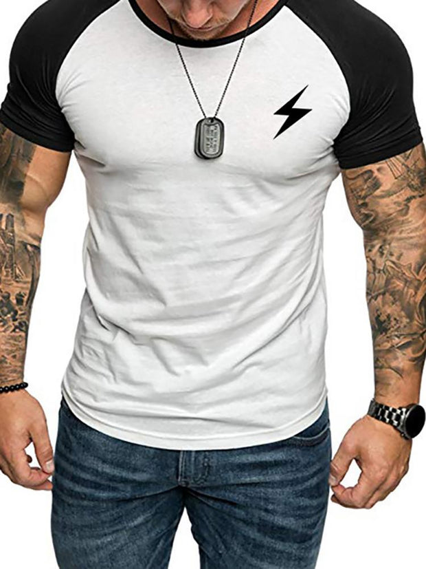 Fashion Contrast Color Lightning Print Round Neck T-Shirt