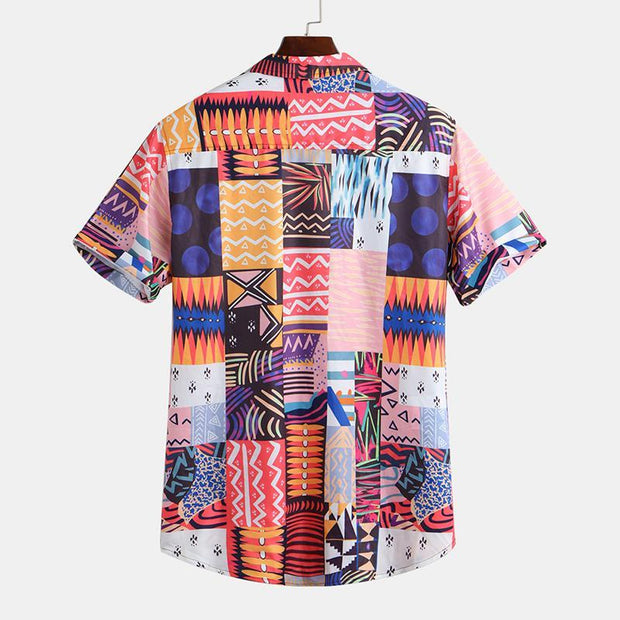 Fashion Contrast Color Print Short Sleeve Shirt