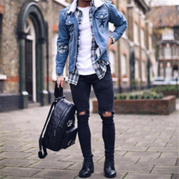 Fashion Hole Denim Tight Trousers