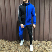 Fashion Contrast Color Hooded Fitness Suit