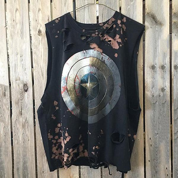 Fashion Broken Hole Printed Round Neck Vest