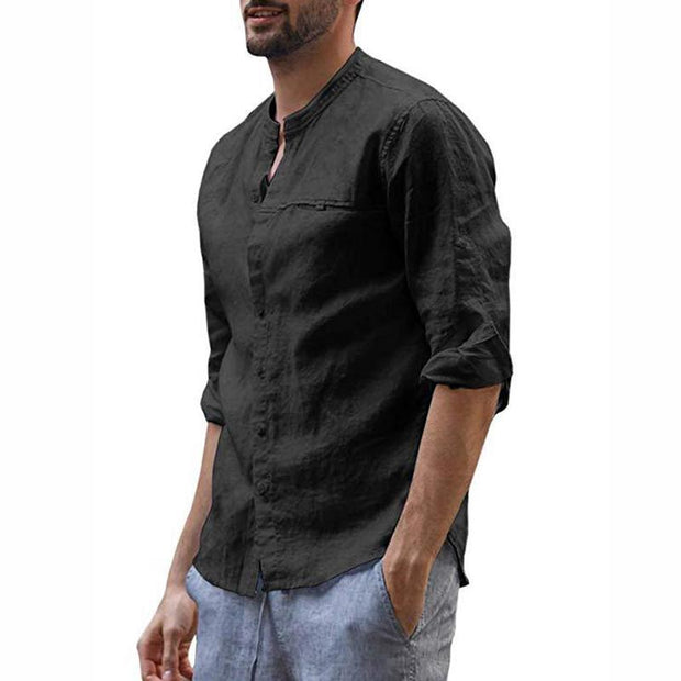 Casual Pure Colour Stand Collar Shirt