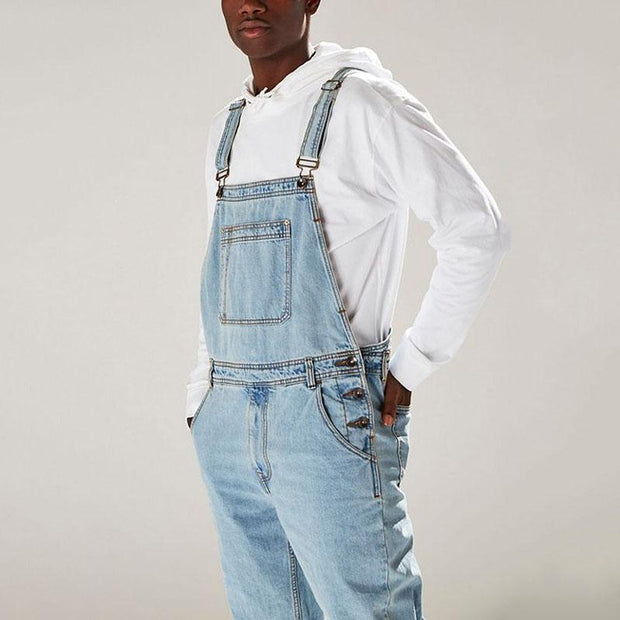 Fashion Button Opening Straight Denim Overalls