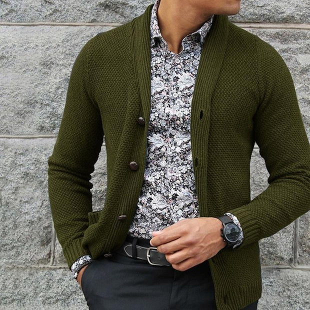 Casual Pure Colour Single-Breasted Knit Cardigan