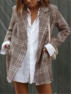 Fashion Long Plaid Oversized Blazer
