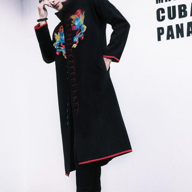 Chinese Style Slim Embroidered Phoenix Pattern Trench Coat