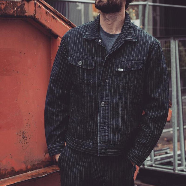 Casual Striped Single Breasted Decorative Button Jacket