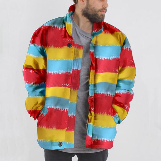 Men's Casual Stand Collar Colorful Striped Loose Jacket