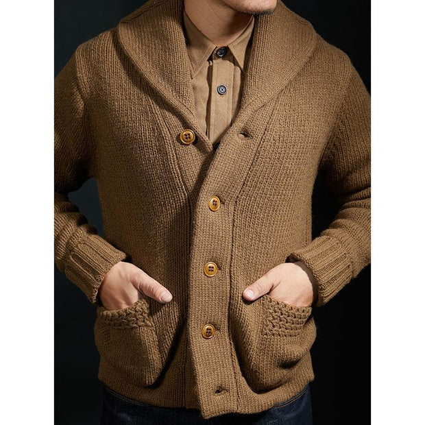 Casual Pure Color Men Single-Breasted Sweater