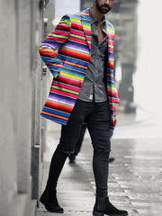 Casual Lapel Striped Long Sleeve Overcoat