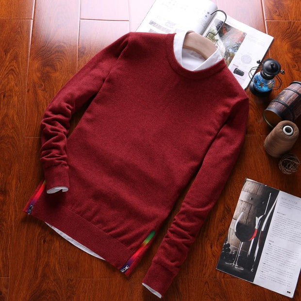 Casual Pure Colour Cotton Bottoming Sweater
