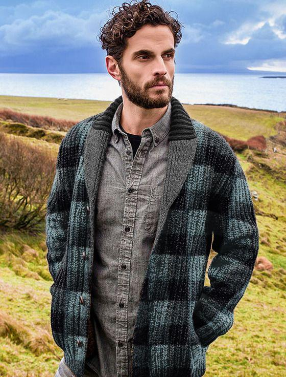 Casual Plaid Men A Lapel Sweater