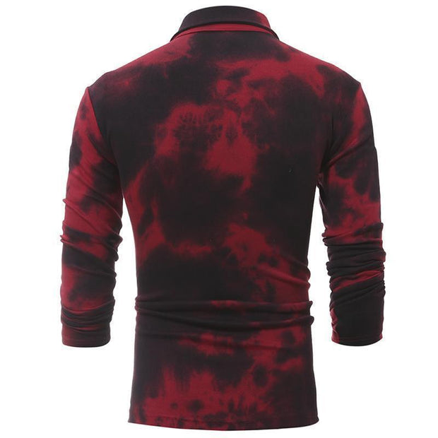 Fashion Casual Tie-Dye Long Sleeved Lapel T-Shirts