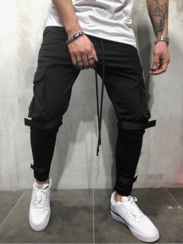 Fashion Big Pocket Fitness Velcro Feet Sweatpants
