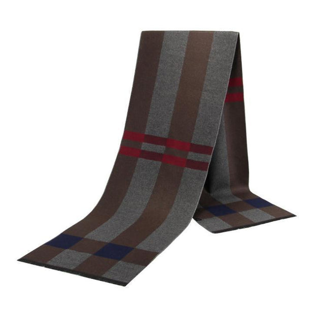 Autumn and winter warm padded plaid cotton casual scarf