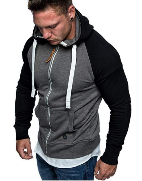 Contrast Stitching Colorblock Cardigan Hoodie