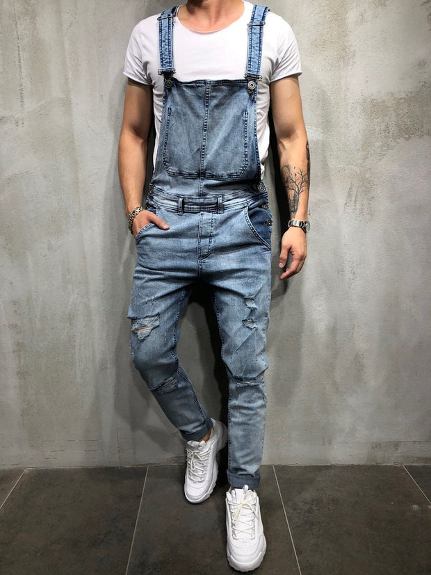 Denim Suspenders Jumpsuit Pants