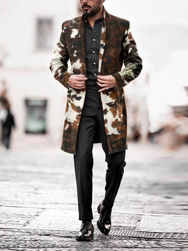 Men's Casual Printed Color Turndown Collar Long Sleeve Midi Overcoat