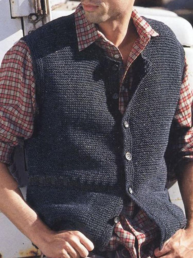 Casual Slim Pure Colour Knitted Vest