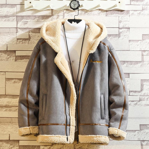 Fashion lamb fur hooded casual coat