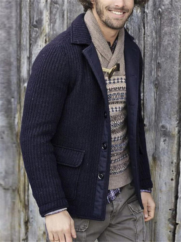New Mens Solid Color Knit Jacket