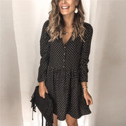Sexy V-Neck Polka Dot Long Sleeve Dress