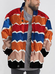 Men's casual stand collar color striped loose jacket
