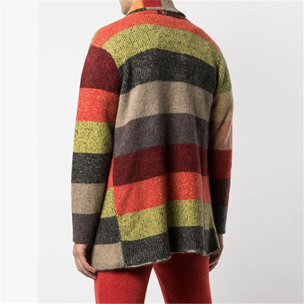 Vintage Rainbow Striped Knit Cardigan