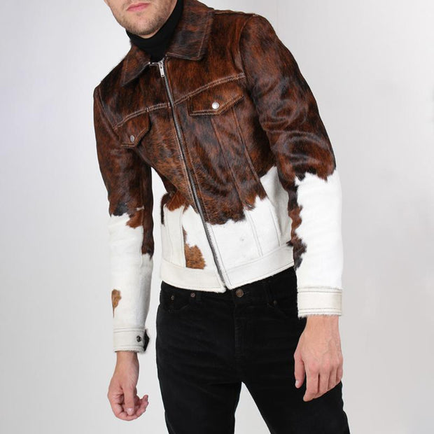 Men's Fashion Coloring Metal Zipper Long Sleeve Slim Coat
