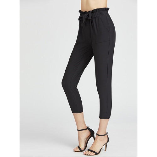 #2302 - Black Bow-Tie High Waist Casual Pants