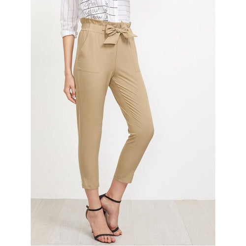 #2304 - Beige Bow-Tie High Waist Casual Pants
