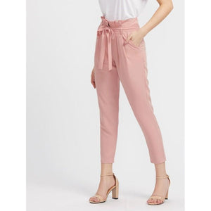 #2301 - Pink Bow-Tie High Waist Casual Pants