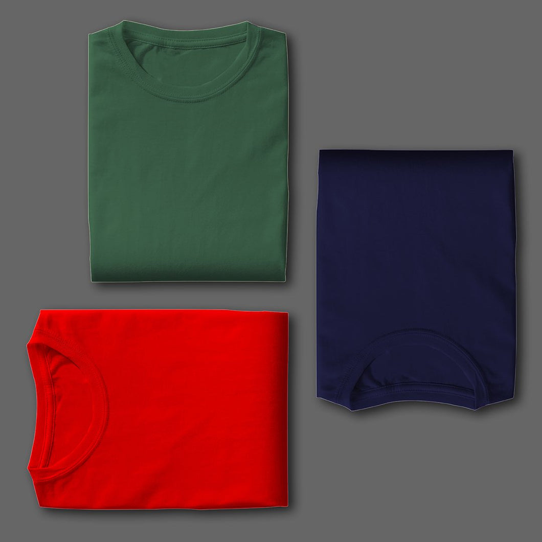 NAVY : RED : OLIVE GREEN  Pack Of 3 Solid T-shirts
