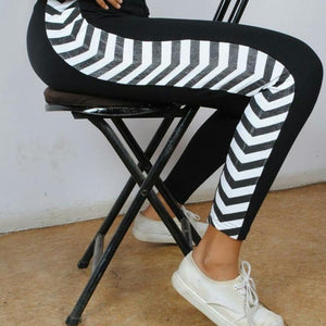 #1902 -  Black Casual Active Wear with White Zig-Zag Stripes
