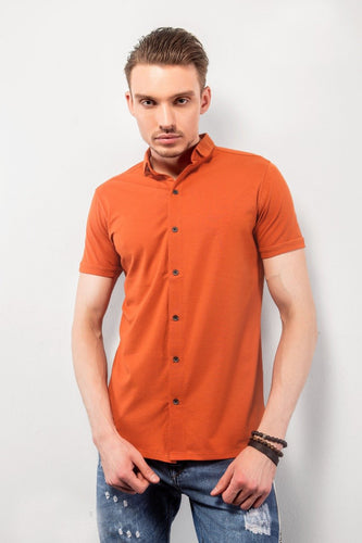 Orange Half-Sleeves Shirt